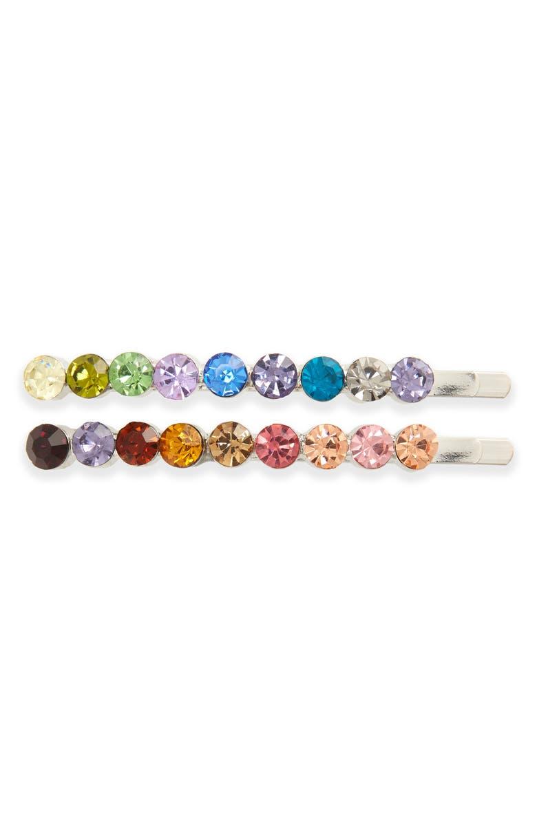 TASHA 2-Pack Rainbow Crystal Bobby Pins, Main, color, MULTI