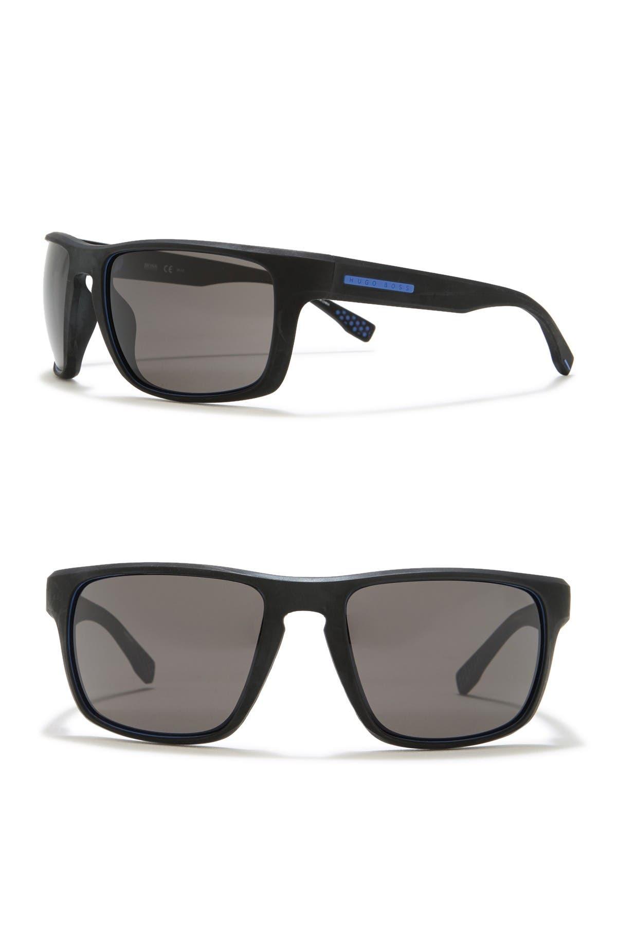 Image of BOSS Polarized 58mm Wrap Sunglasses