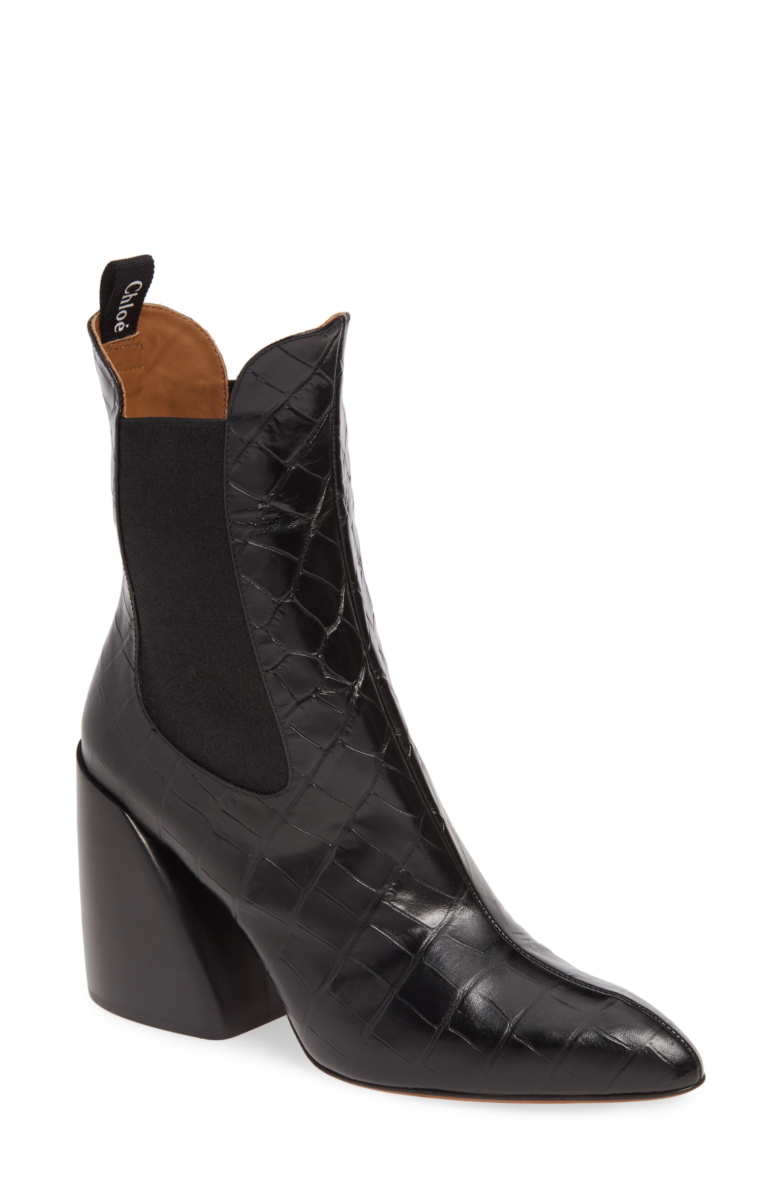 Chloe Croc Embossed Chelsea Boot - Black