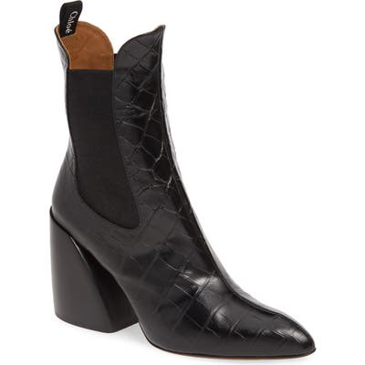Chloe Croc Embossed Chelsea Boot - Black