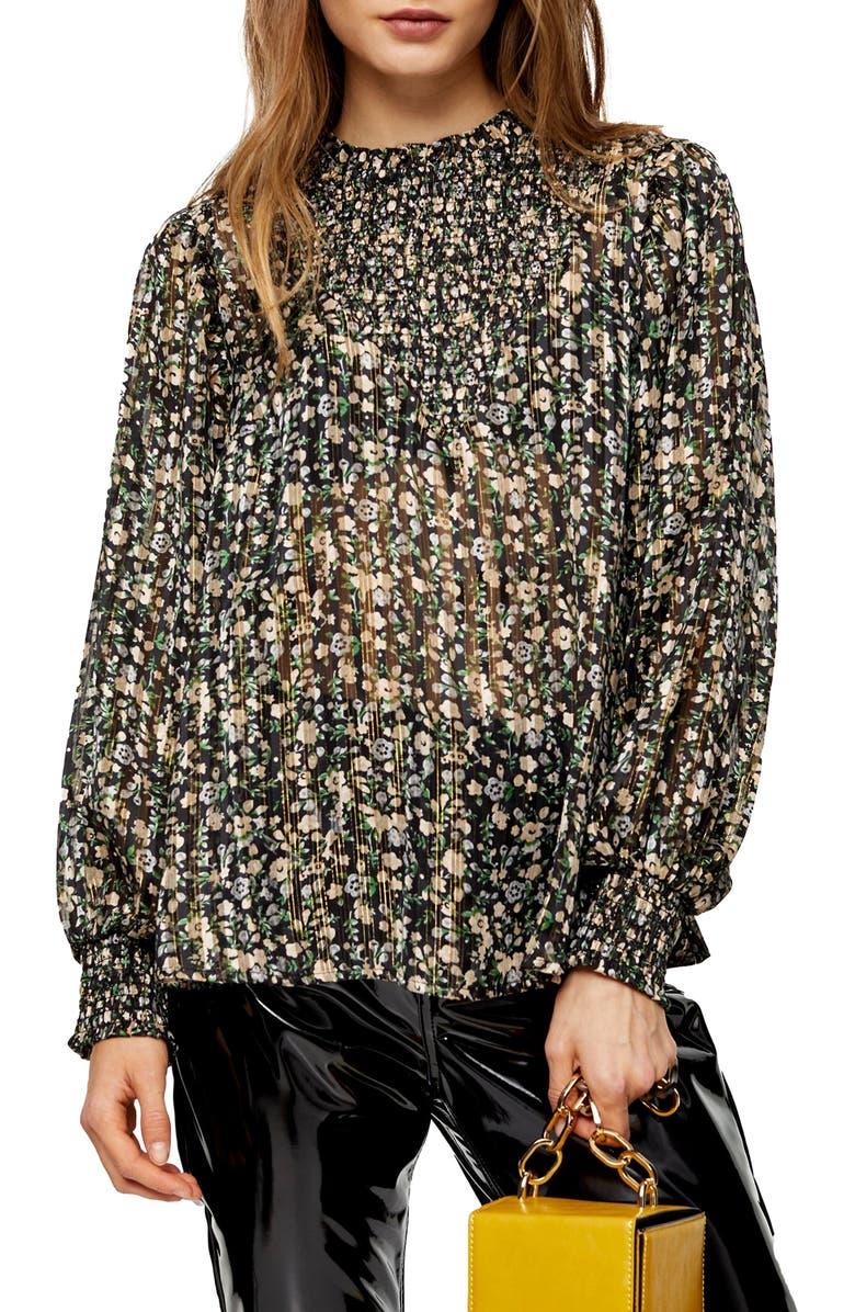TOPSHOP Metallic Floral Smocked Top, Main, color, BLACK MULTI