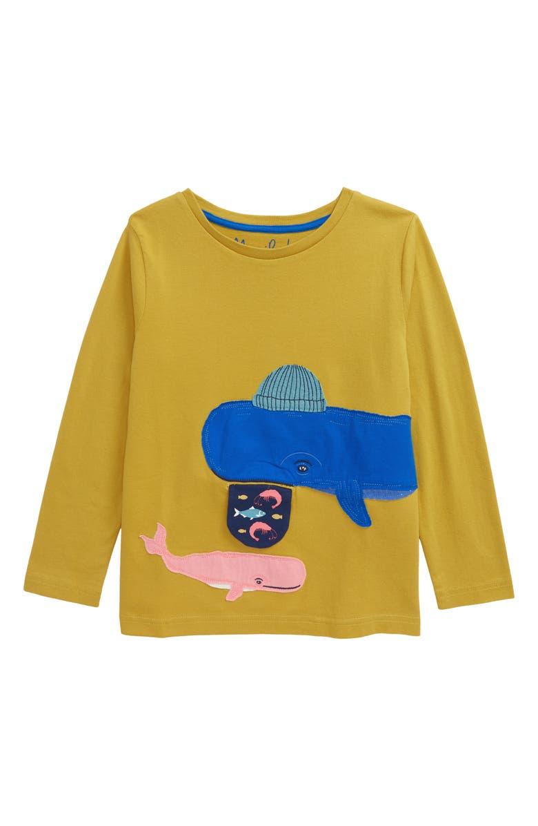 MINI BODEN Whale Appliqué T-Shirt, Main, color, SULPHUR YELLOW