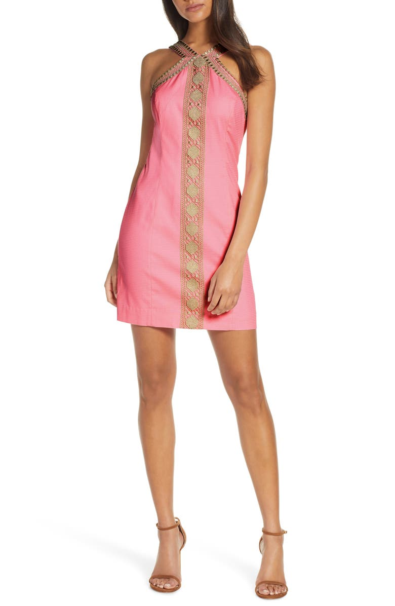 LILLY PULITZER<SUP>®</SUP> Vena Embroidered Minidress, Main, color, CAPRI CORAL