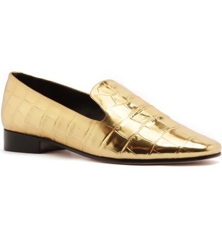 SCHUTZ Flor Croc Embossed Metallic Loafer, Main, color, ORO LEATHER