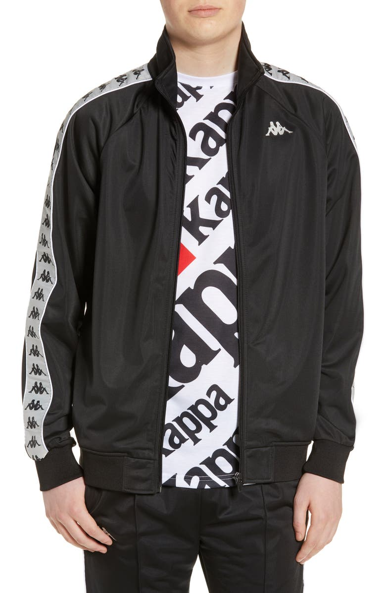 KAPPA 222 Banda Anniston Track Jacket, Main, color, BLACK/ GREY SILVER/ WHITE