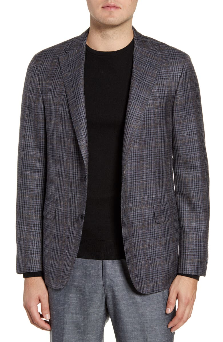 HICKEY FREEMAN Modern H Fit Plaid Wool Blend Sport Coat, Main, color, 030