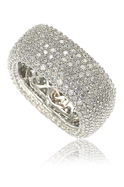 Image of Suzy Levian Sterling Silver White CZ Square Eternity Band Ring