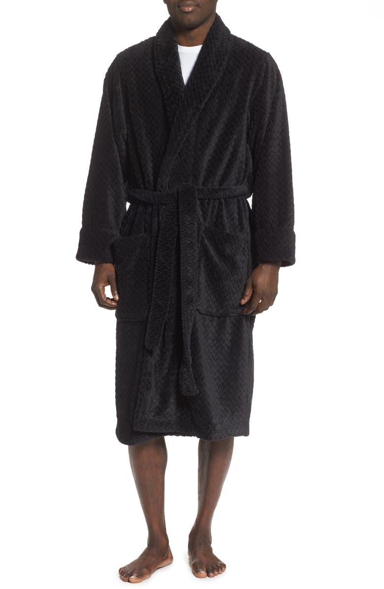 NORDSTROM MEN'S SHOP Fleece Robe, Main, color, 001