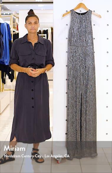 Sleeveless Metallic Mesh Gown, sales video thumbnail