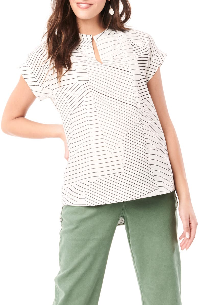 LOYAL HANA Carrie Stripe Maternity/Nursing Top, Main, color, WHITE WITH BLACK LINES