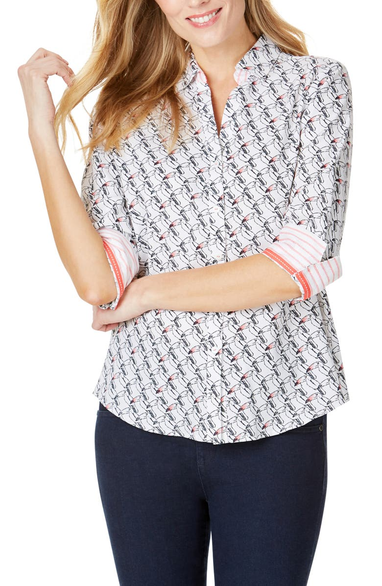FOXCROFT Mary Toucan Print Wrinkle Free Shirt, Main, color, WHITE MULTI