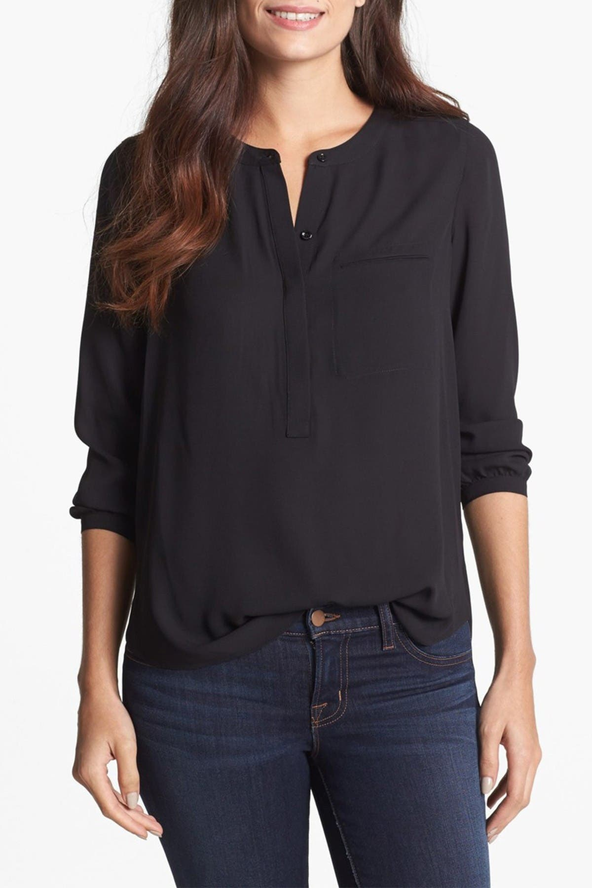 Image of NYDJ Split Neck Henley Blouse
