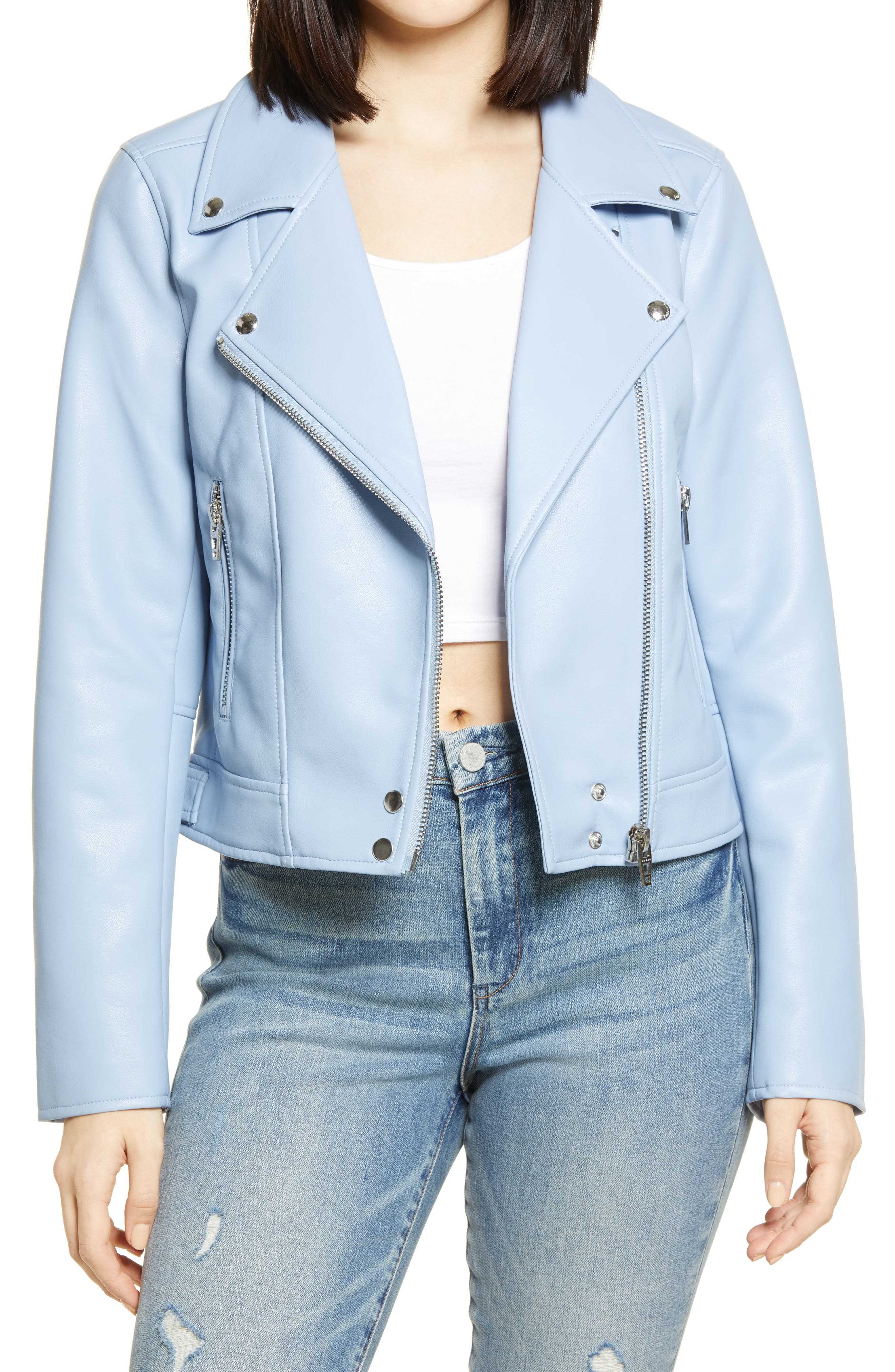 Women's Blanknyc Good Vibes Faux Leather Moto Jacket, Size X-Large - Blue