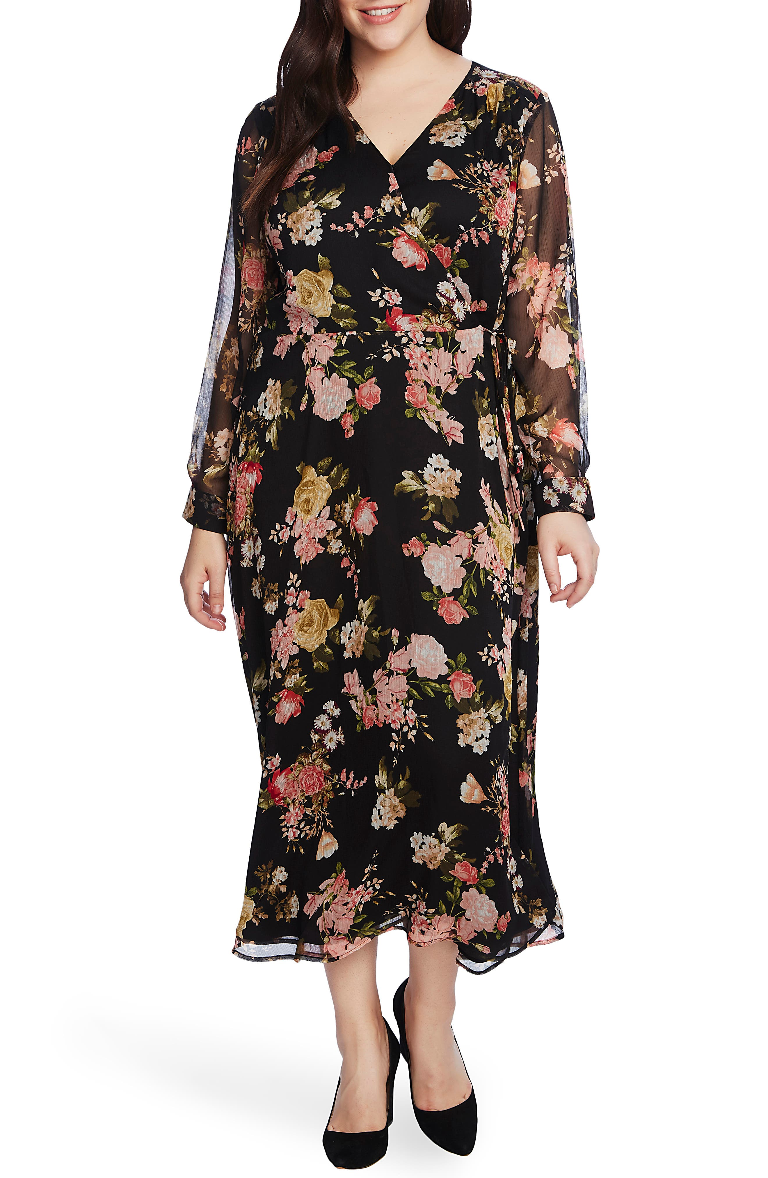 60s 70s Plus Size Dresses, Clothing, Costumes Plus Size Womens Vince Camuto Beautiful Blooms Long Sleeve Chiffon Dress $92.40 AT vintagedancer.com