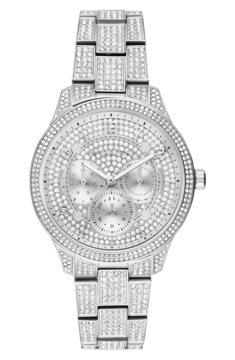 MICHAEL KORS Runway Crystal Bracelet Watch, 38mm, Main, color, 040