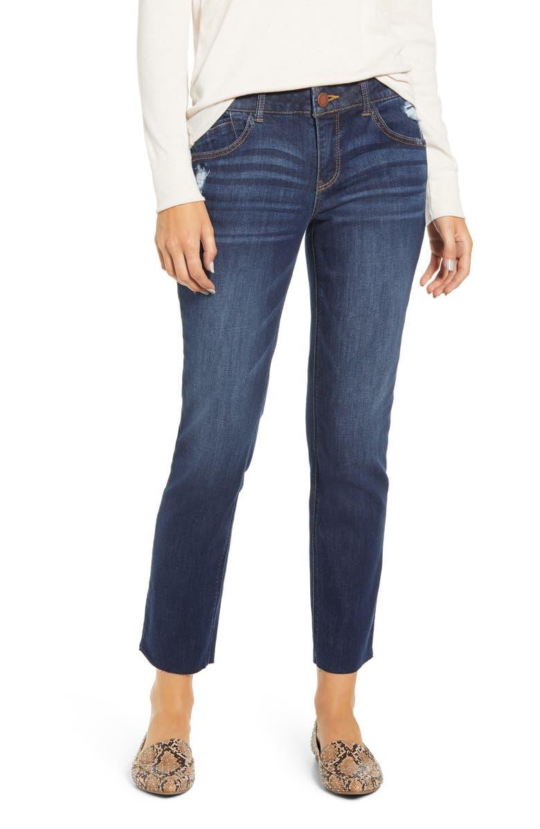 WIT & WISDOM Ab-solution Raw Hem Girlfriend Jeans, Main, color, BLUE
