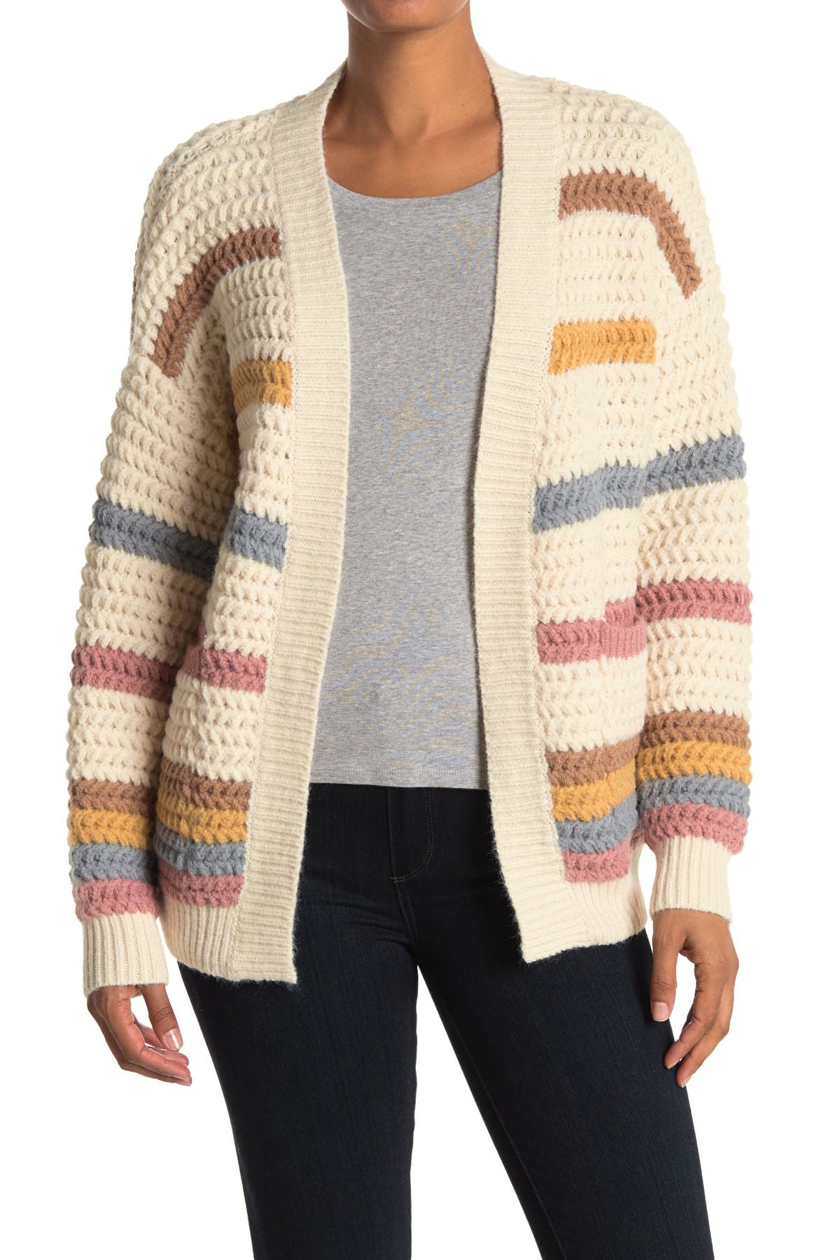 Image of Dreamers by Debut Stripe Print Open Front Cardigan