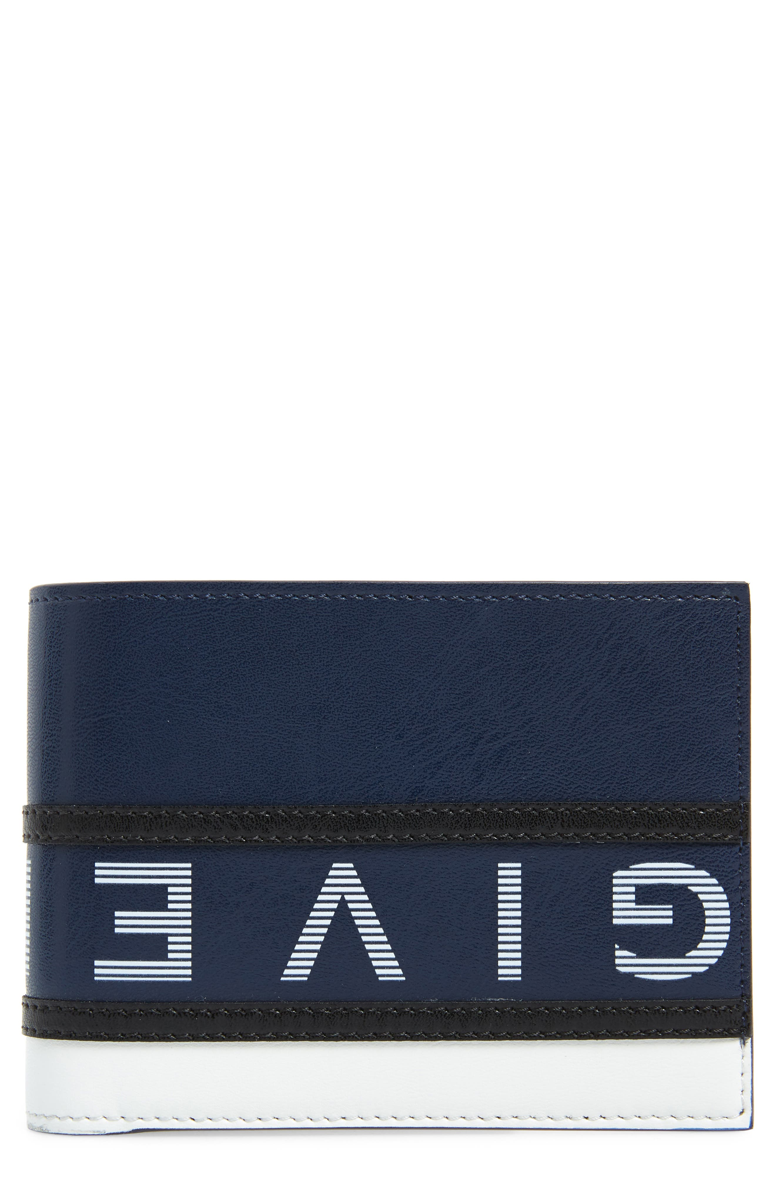 ,                             Reverse Logo Leather Wallet,                             Main thumbnail 1, color,                             BLUE/ WHITE
