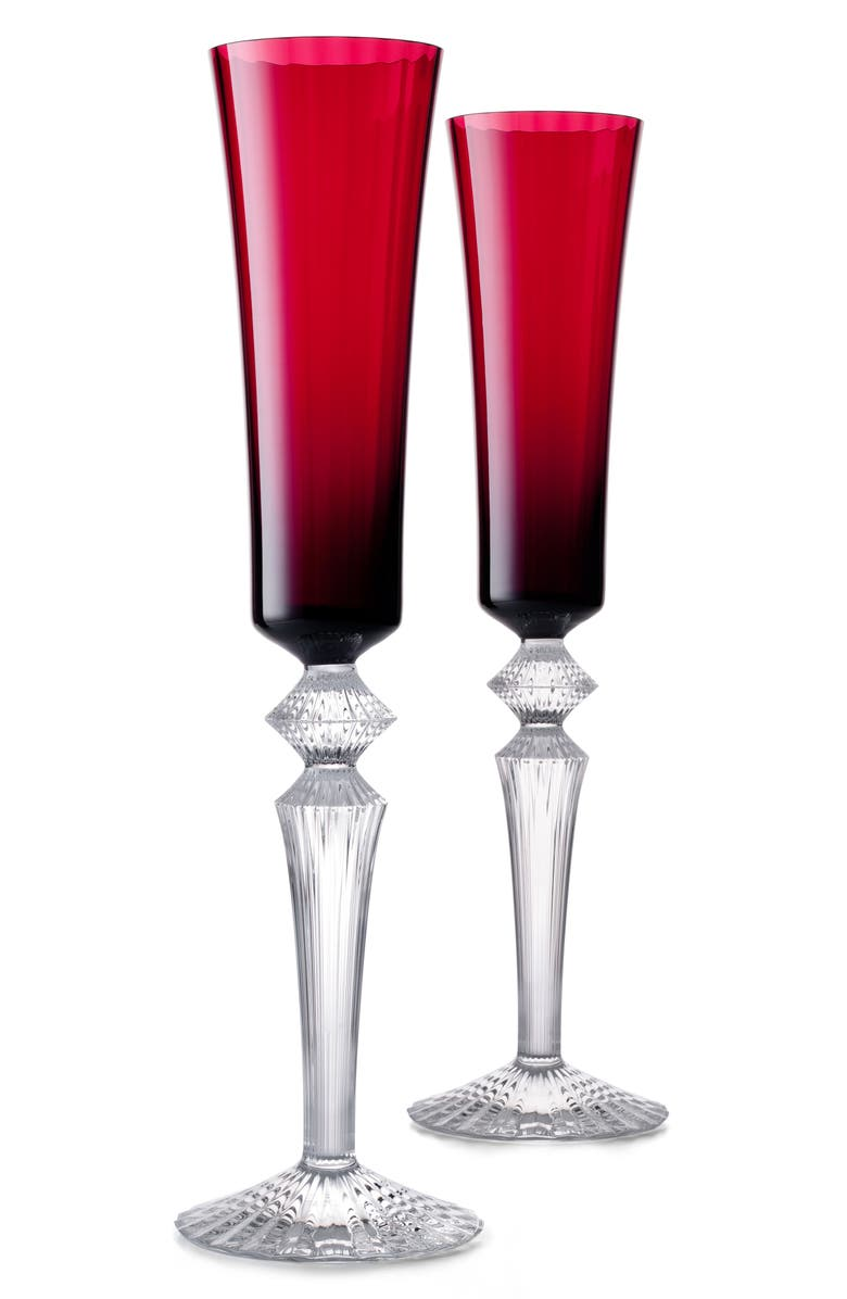 BACCARAT Mille Nuits Flutissimo Set of 2 Lead Crystal Flutes, Main, color, RED