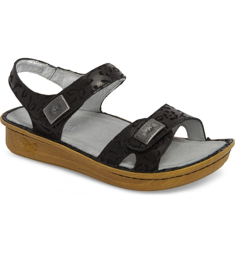 ALEGRIA Vienna Sandal, Main, color, MORNING GLORY BLACK LEATHER