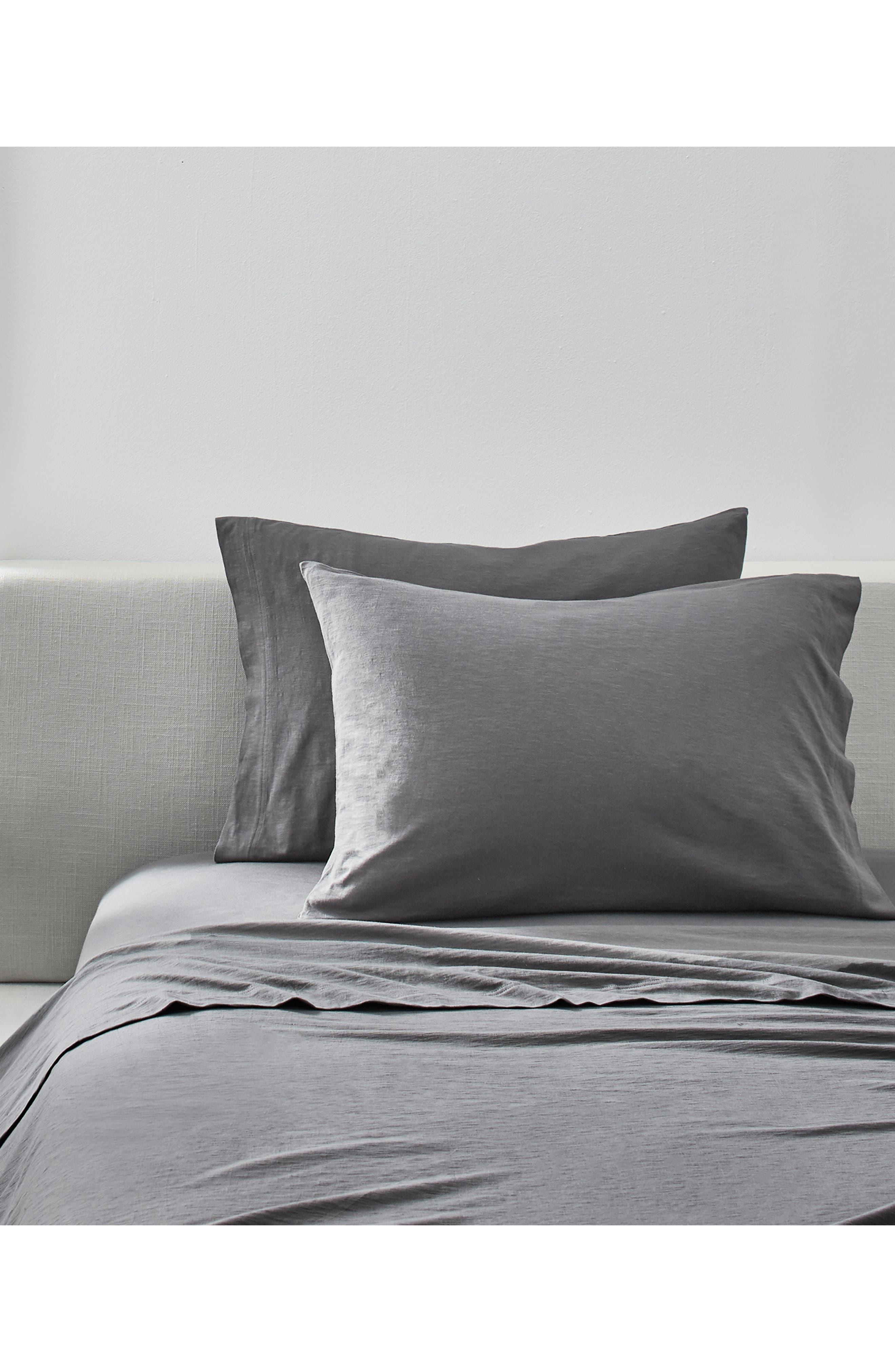 ,                             Set of 2 Slub Jersey Pillowcases,                             Alternate thumbnail 2, color,                             CHARCOAL
