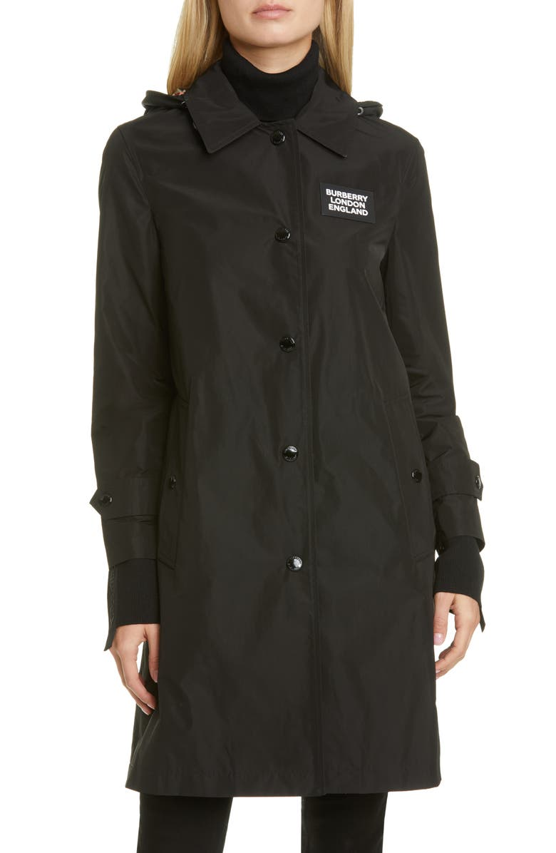 BURBERRY Oxclose Logo Patch Hooded Taffeta Coat, Main, color, BLACK
