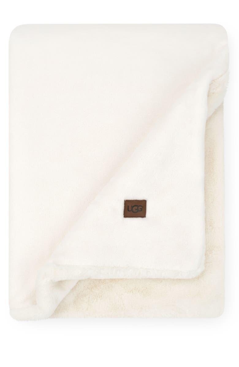 UGG<SUP>®</SUP> Coastline Plush Throw Blanket, Main, color, SNOW