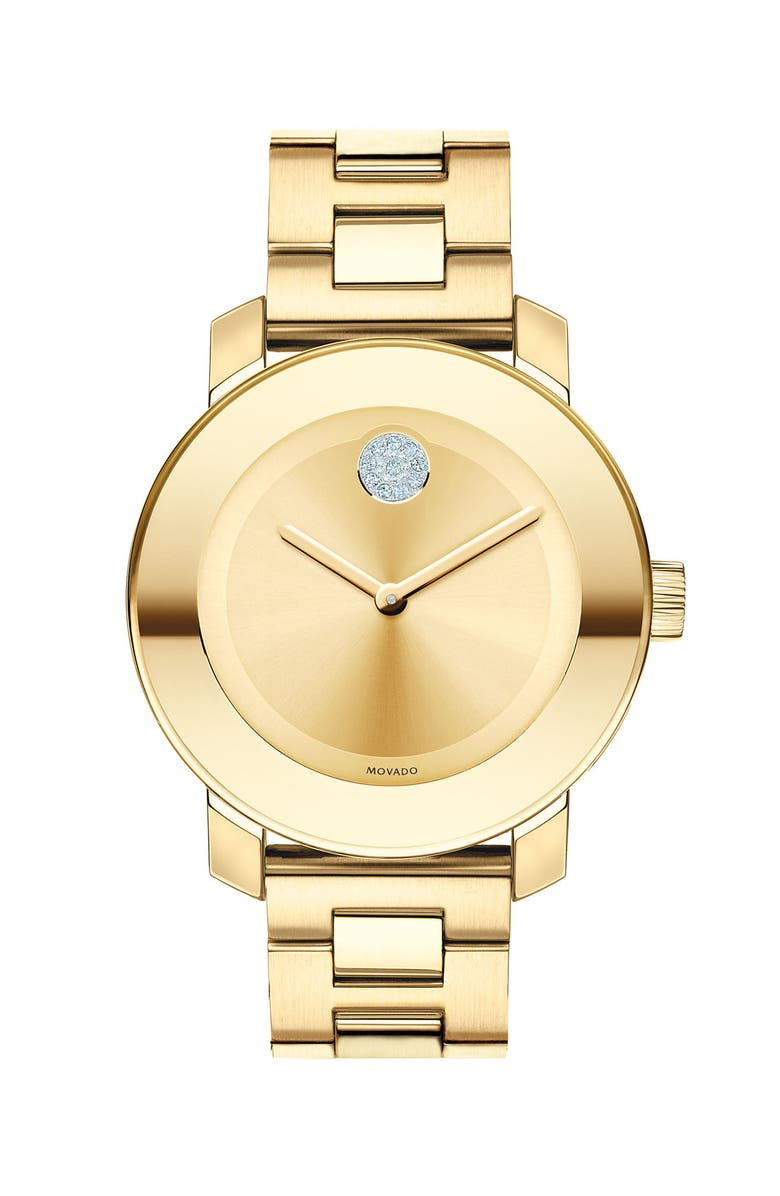 MOVADO 'Bold' Crystal Marker Bracelet Watch, 36mm, Main, color, GOLD