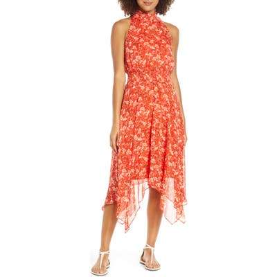 Sam Edelman Smocked Handkerchief Hem Dress, Orange