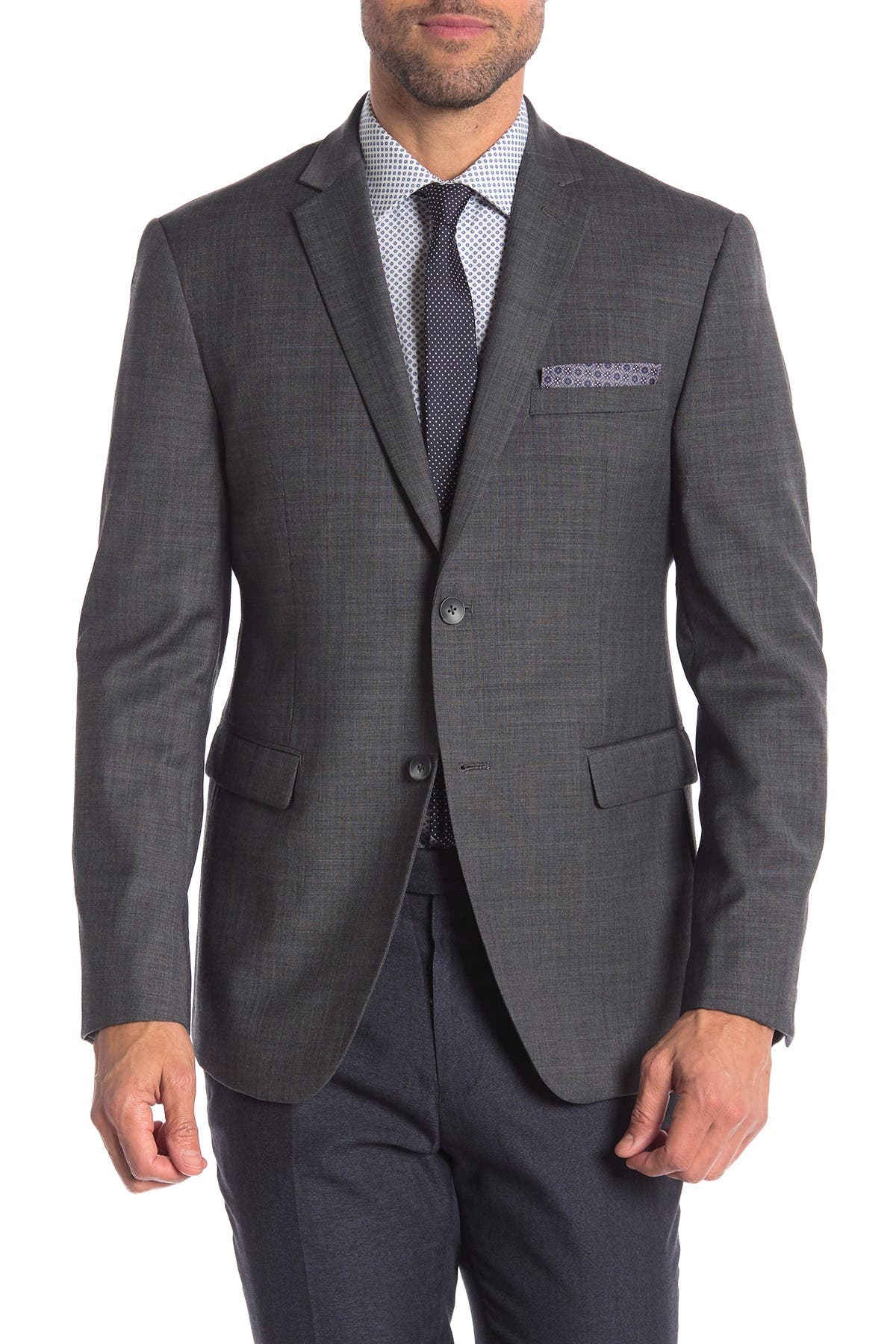 Image of Original Penguin Charcoal Solid Two Button Notch Lapel Trim Fit Suit Separates Jacket