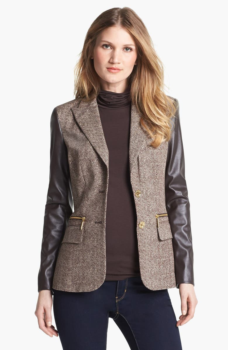 MICHAEL MICHAEL KORS Faux Leather Sleeve Tweed Blazer, Main, color, 201