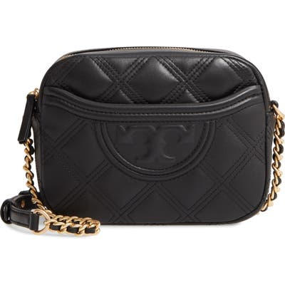 Tory Burch Fleming Quilted Leather Camera Bag - Black