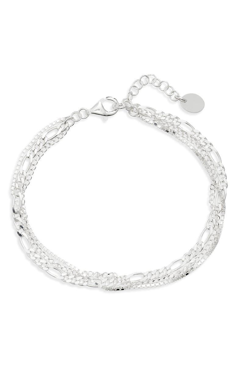 ARGENTO VIVO STERLING SILVER Argento Vivo Triple Layer Chain Bracelet, Main, color, 040