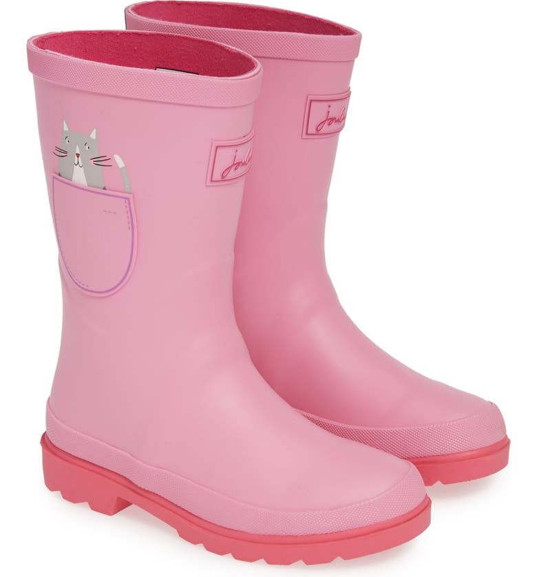JOULES Mid Height Print Welly Waterproof Rain Boot, Main, color, PINK POCKET CAT