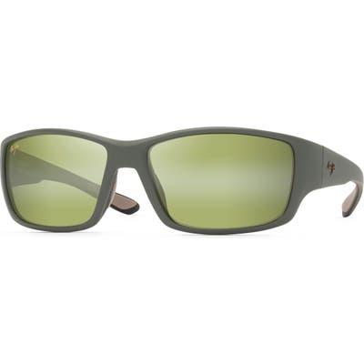 Maui Jim Local Kine 61mm Polarized Wraparound Sunglasses - Khaki/ Brown/ Black