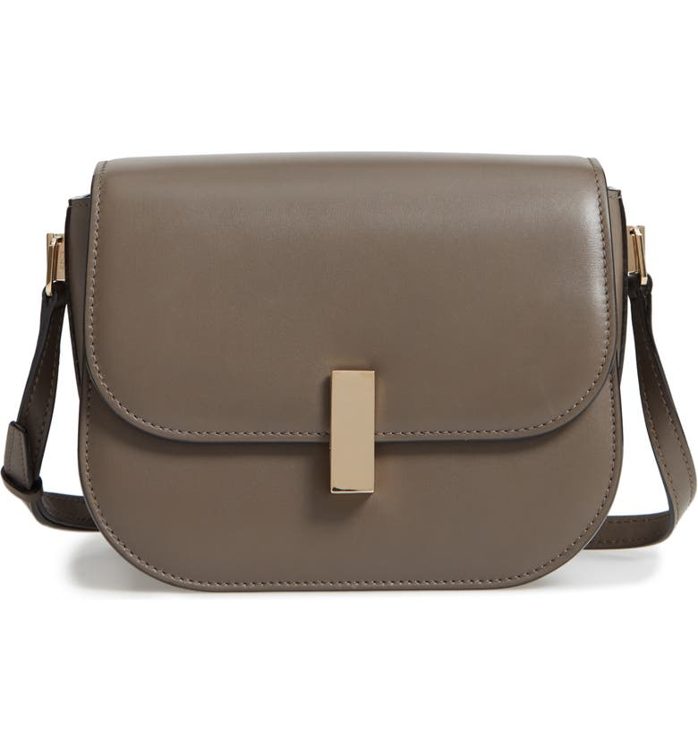 VALEXTRA Iside Leather Crossbody Bag, Main, color, FUMO DI LONDRA