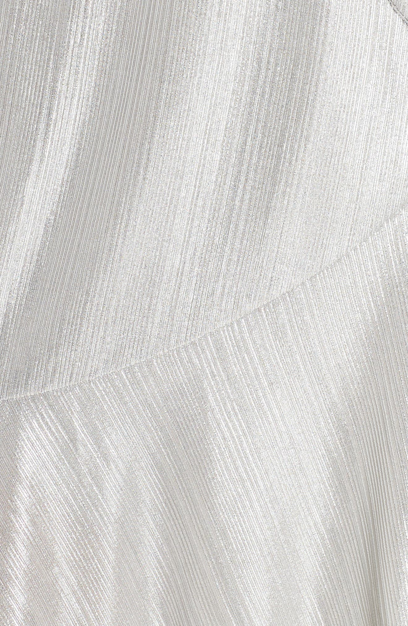 ,                             Metallic Ruffle Wrap Dress,                             Alternate thumbnail 6, color,                             SILVER