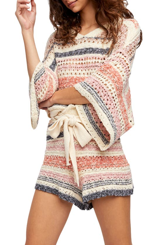 Free People Cottons STRIPES FOR DAYS SWEATER & SHORTS SET