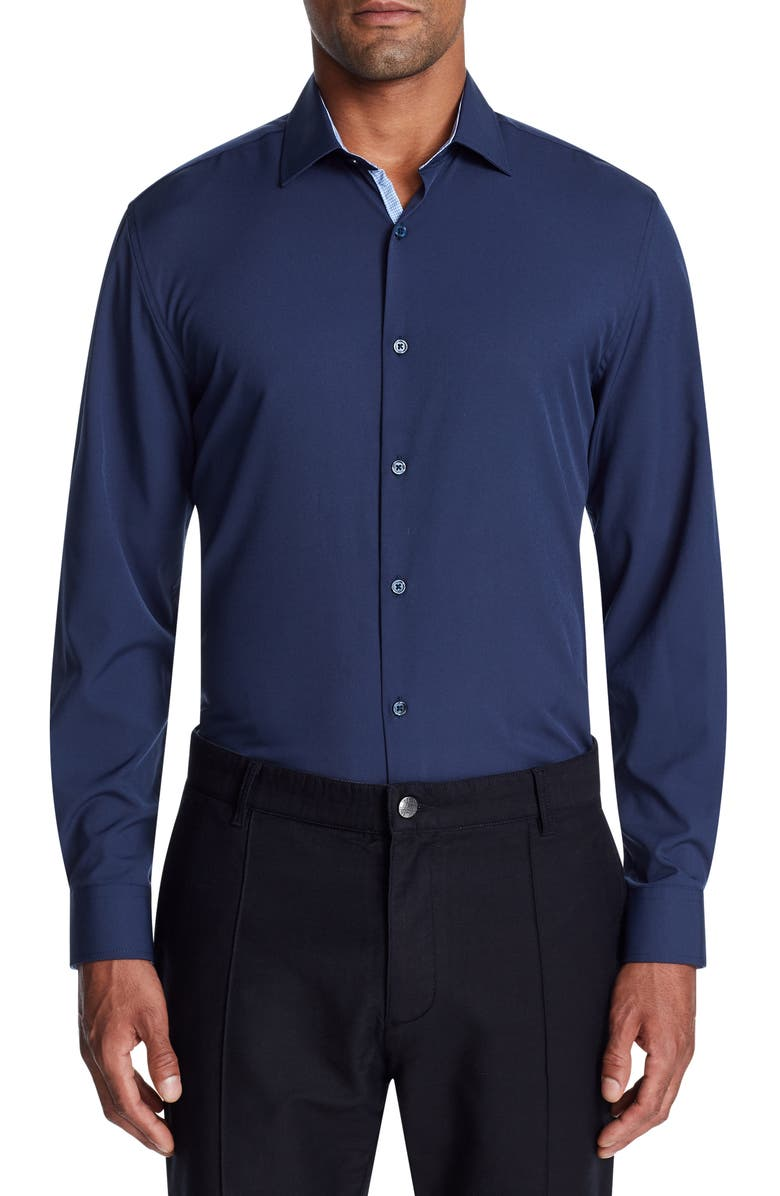 W.R.K Trim Fit Performance Stretch Dress Shirt, Main, color, NAVY