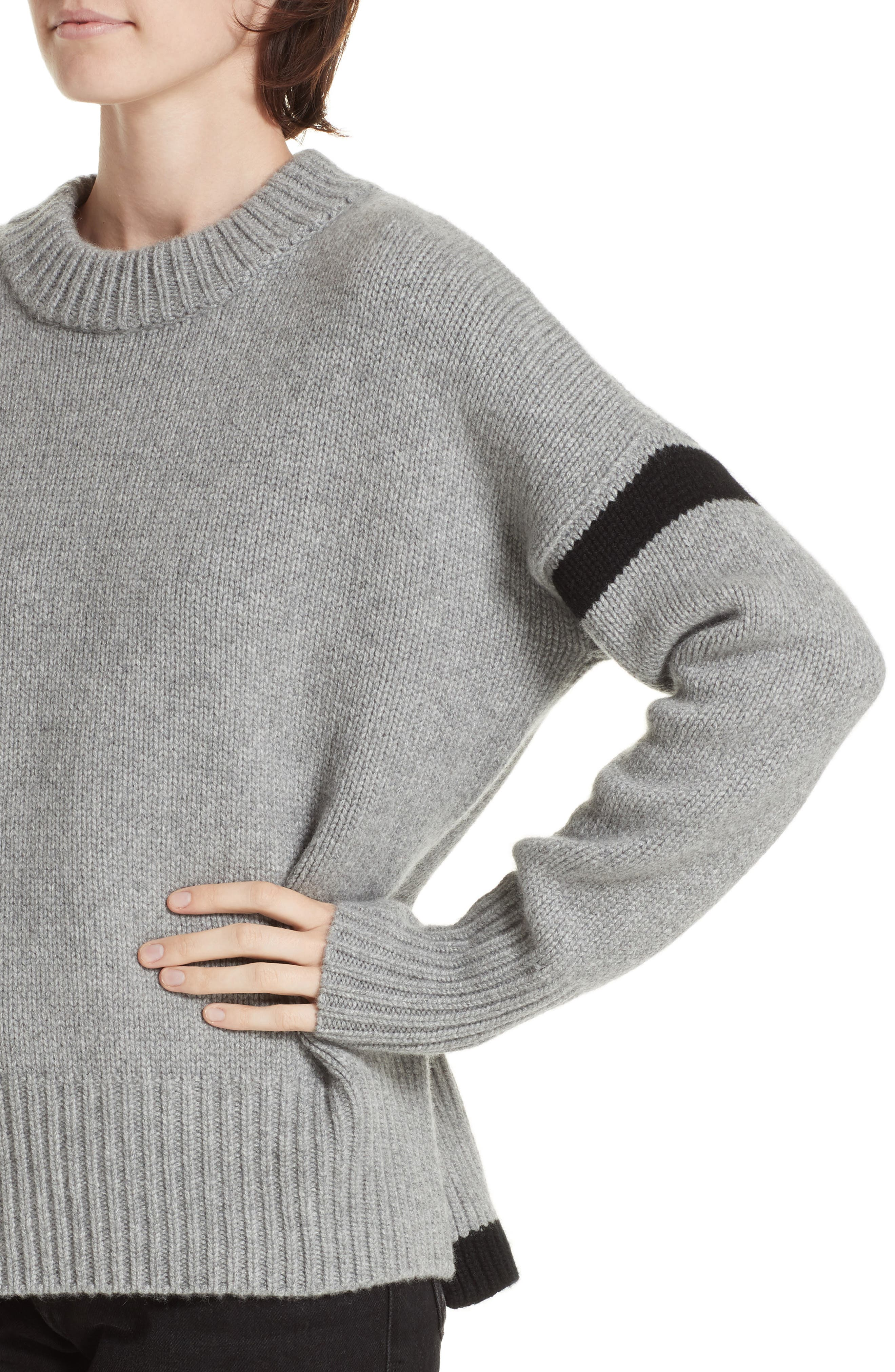 ,                             Varsity Cashmere Sweater,                             Alternate thumbnail 4, color,                             GREY MARLE/ BLACK