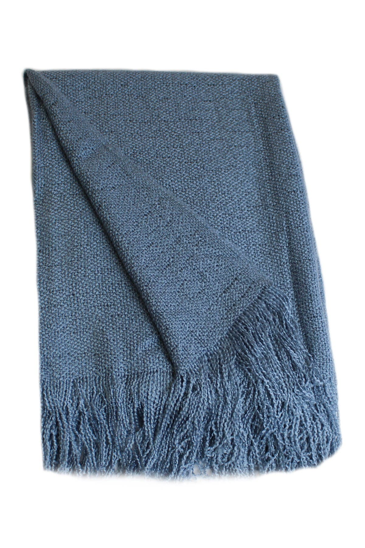 """Image of Belle Epoque Solid Acrylic Throw 50""""X70""""+4"""" Fringe Blue"""