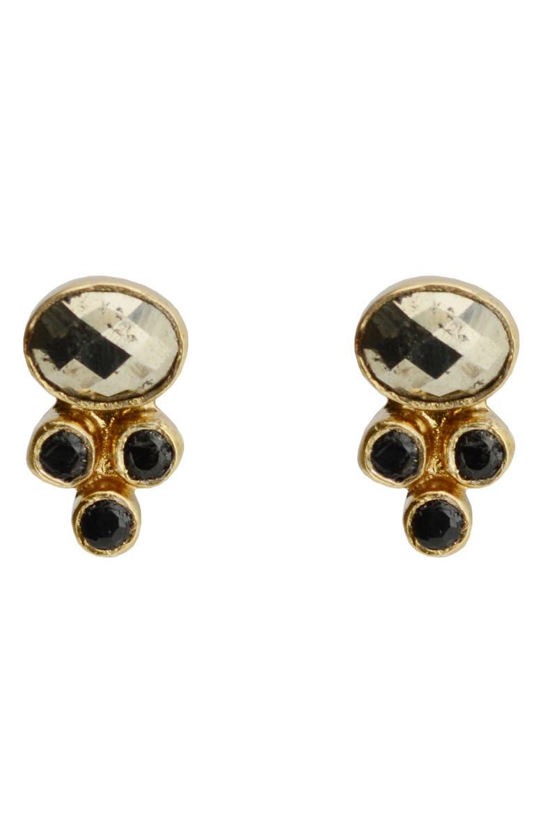 KAREN LONDON Alexandria Stud Earrings, Main, color, PYRITE/ GOLD