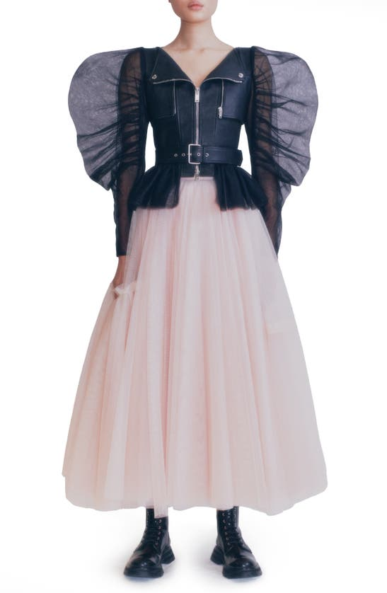 Alexander Mcqueen TULLE PUFF SLEEVE WATER BUFFALO LEATHER MOTO JACKET