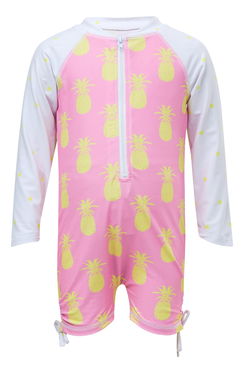 SNAPPER ROCK Pineapple Zip One-Piece Swimsuit, Main, color, PINK YELLOW PINEAPPLES