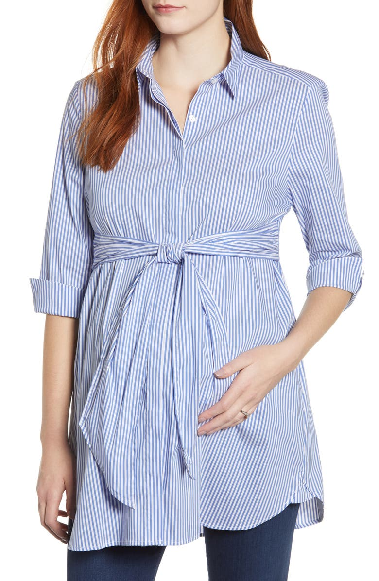 ISABELLA OLIVER Dora Maternity Shirt, Main, color, NAVY / WHITE STRIPE