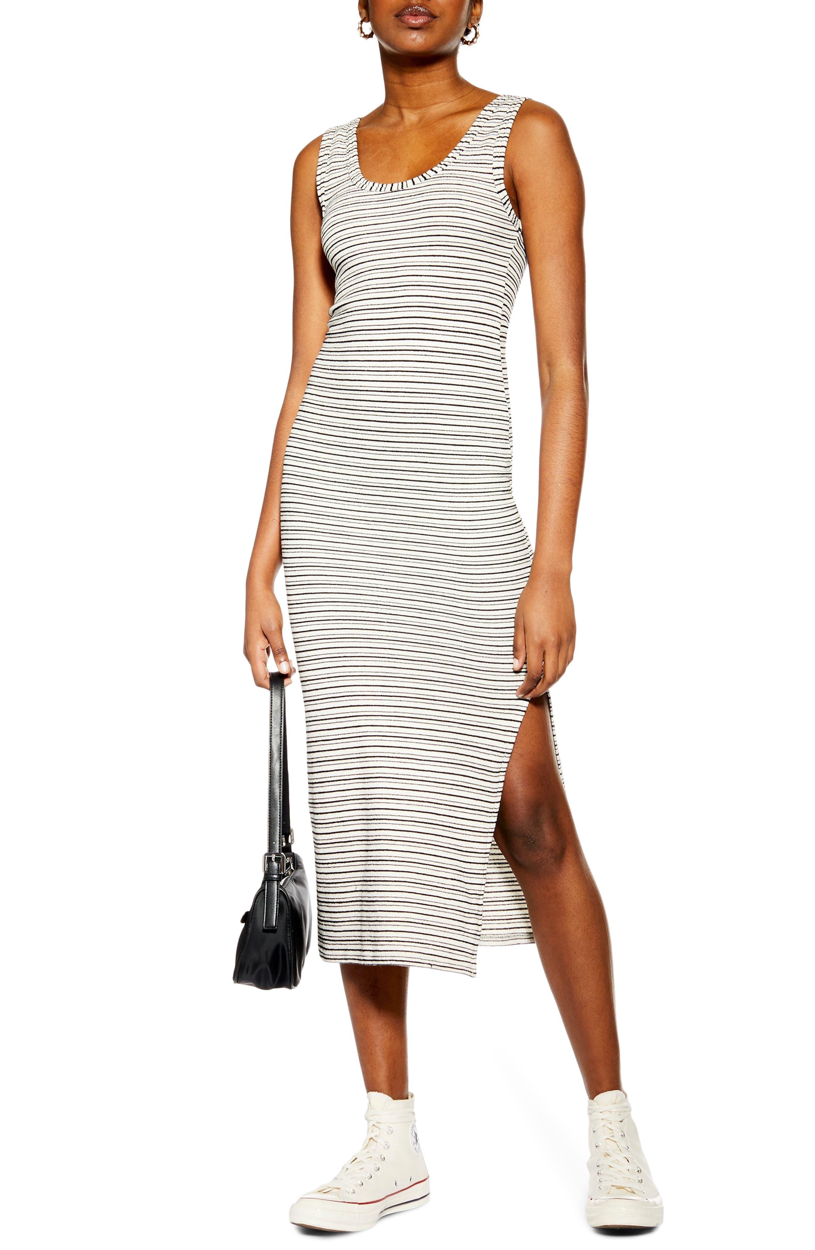 Topshop Stripe Column Midi Dress, US (fits like 2-4) - Black