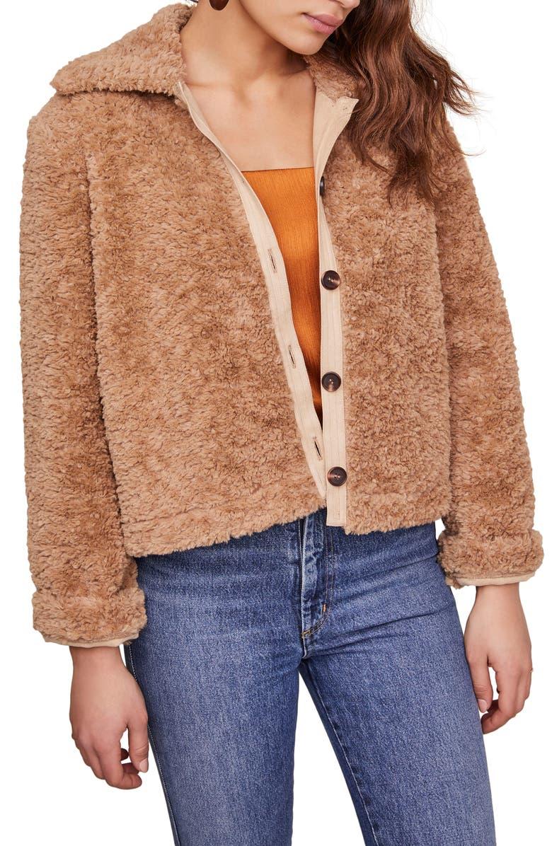 ASTR THE LABEL Teddi Faux Fur Jacket, Main, color, CARAMEL