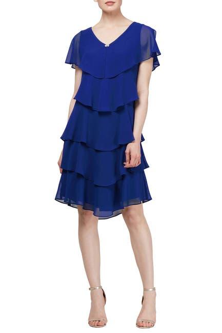 Image of SL Fashions Ruffle Tiered V-Neck Dress