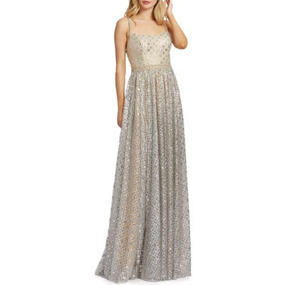 MAC Duggal A-Line Metallic Lattice Gown, Beige