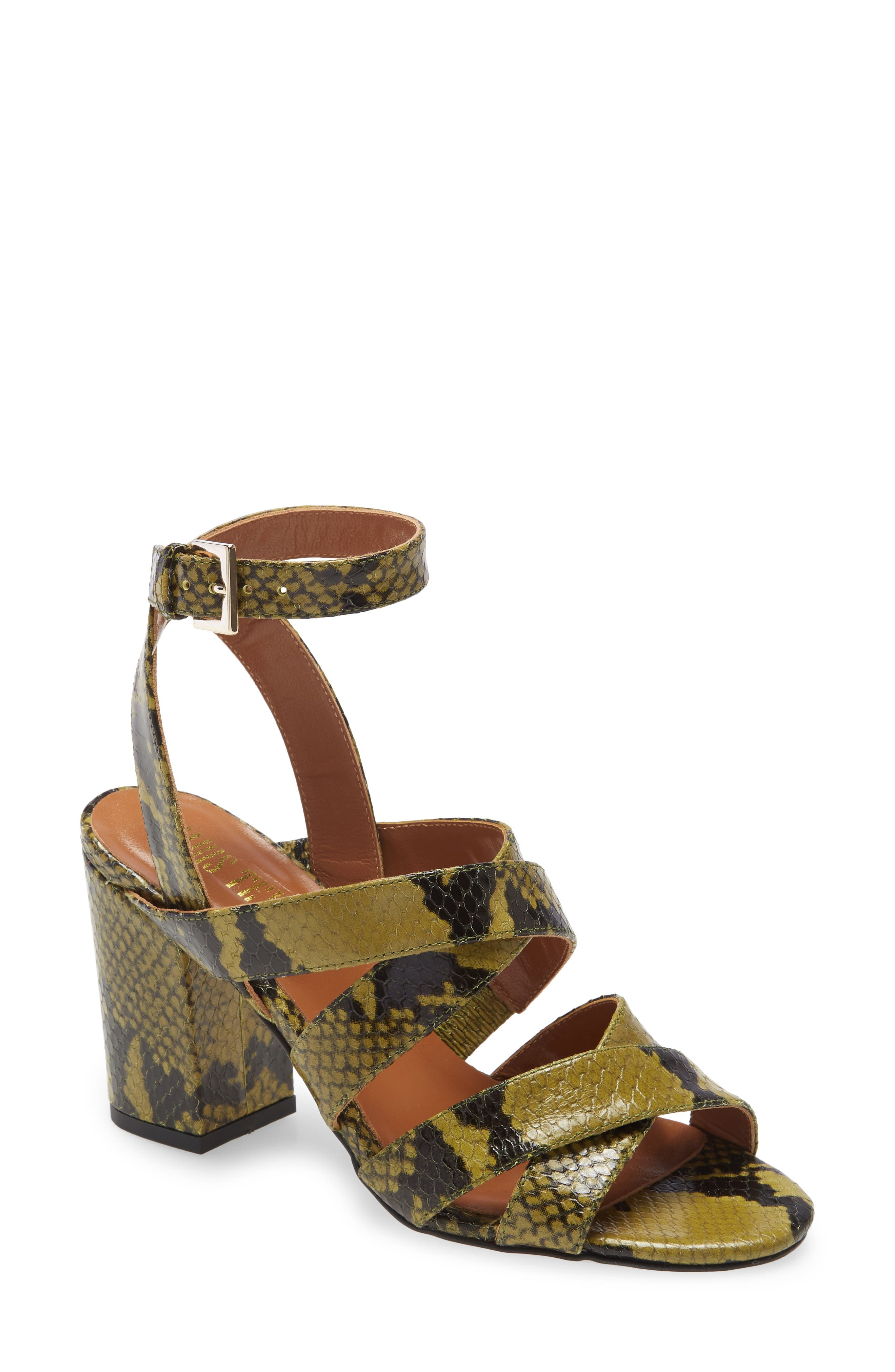 Image of PARIS TEXAS Python Embossed Ankle Strap Sandal